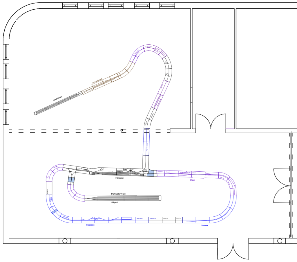 Layout drawing of the modules used for this meet.